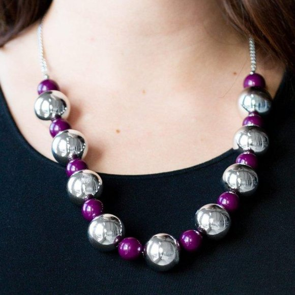 3/$20 Paparazzi Top Pop Purple Necklace and Earring Set